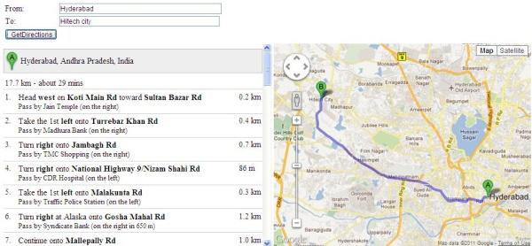 Google maps api directions service example