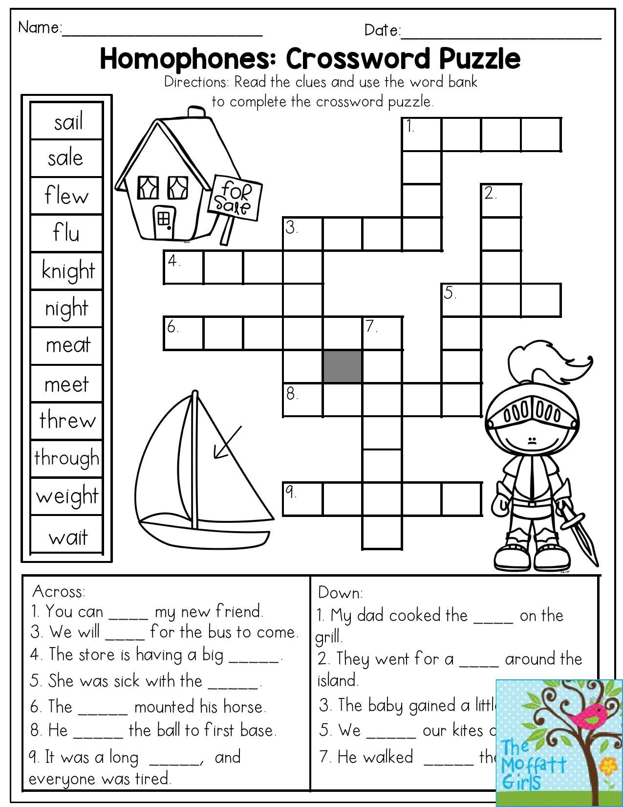 Homophones worksheets for grade 3 pdf