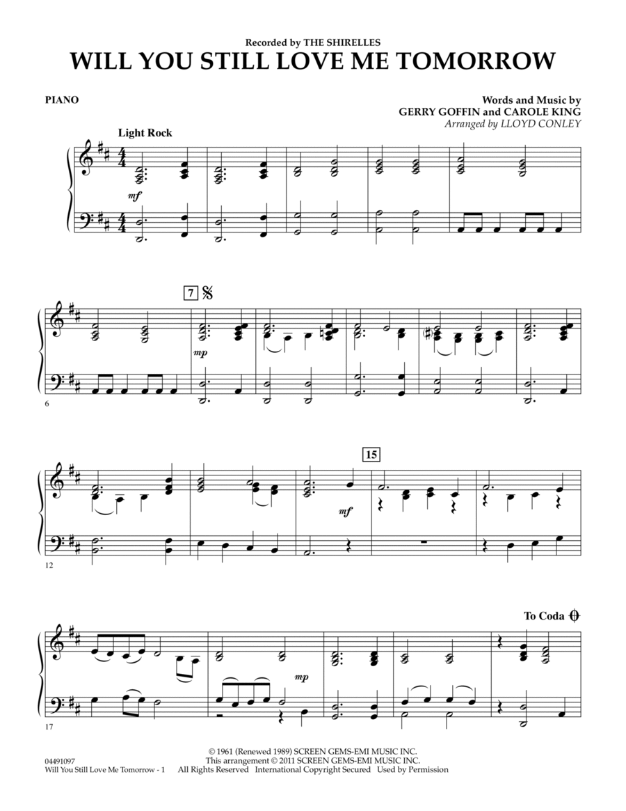 Carole king will you love me tomorrow sheet music pdf