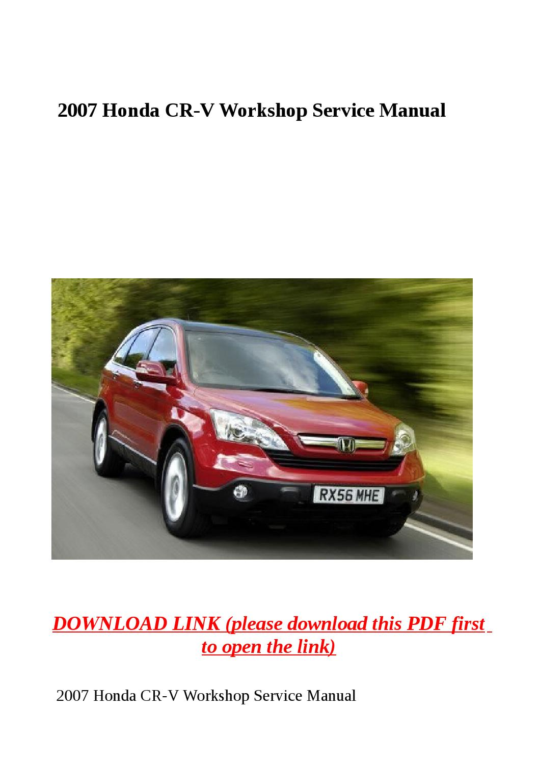 2007 honda crv service manual download