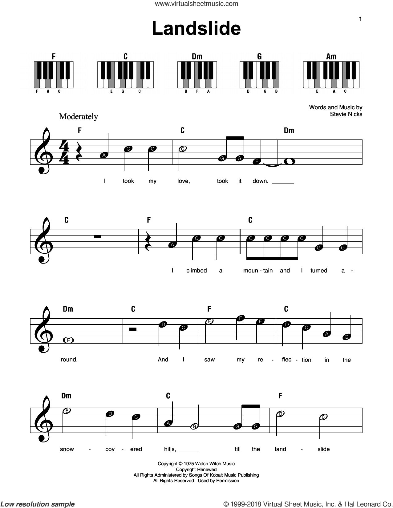 Dixie chicks landslide sheet music pdf