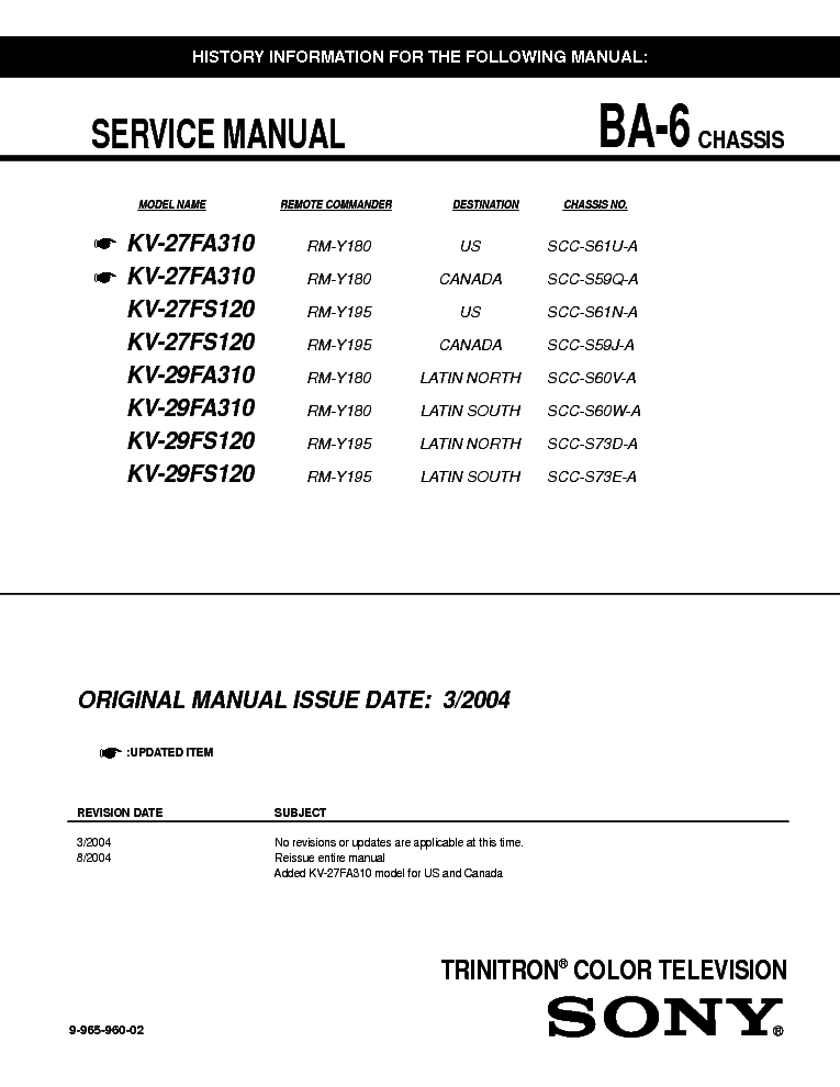 sony kv 27fs120 service manual