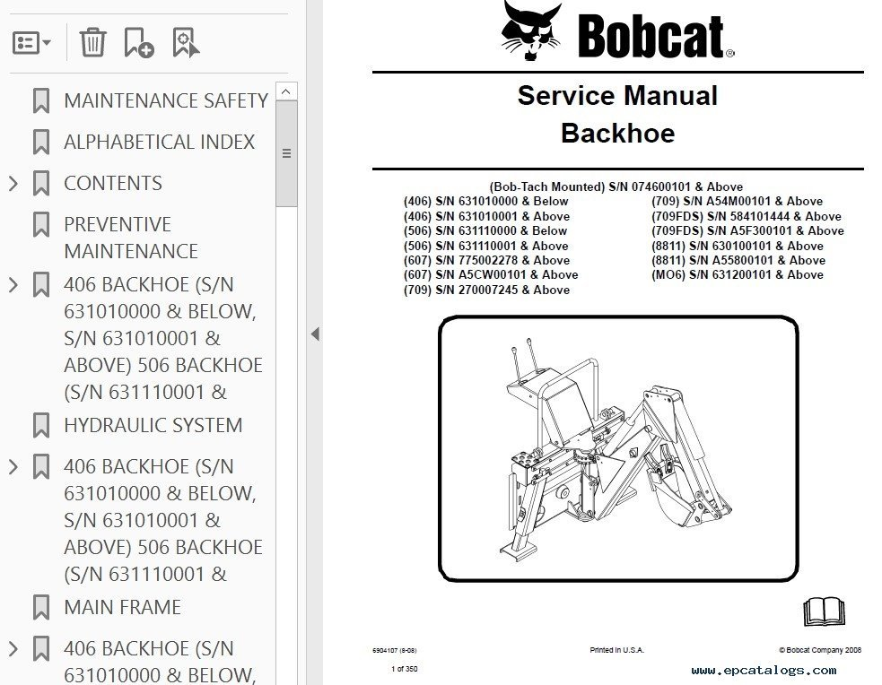 bobcat 709 backhoe service manual