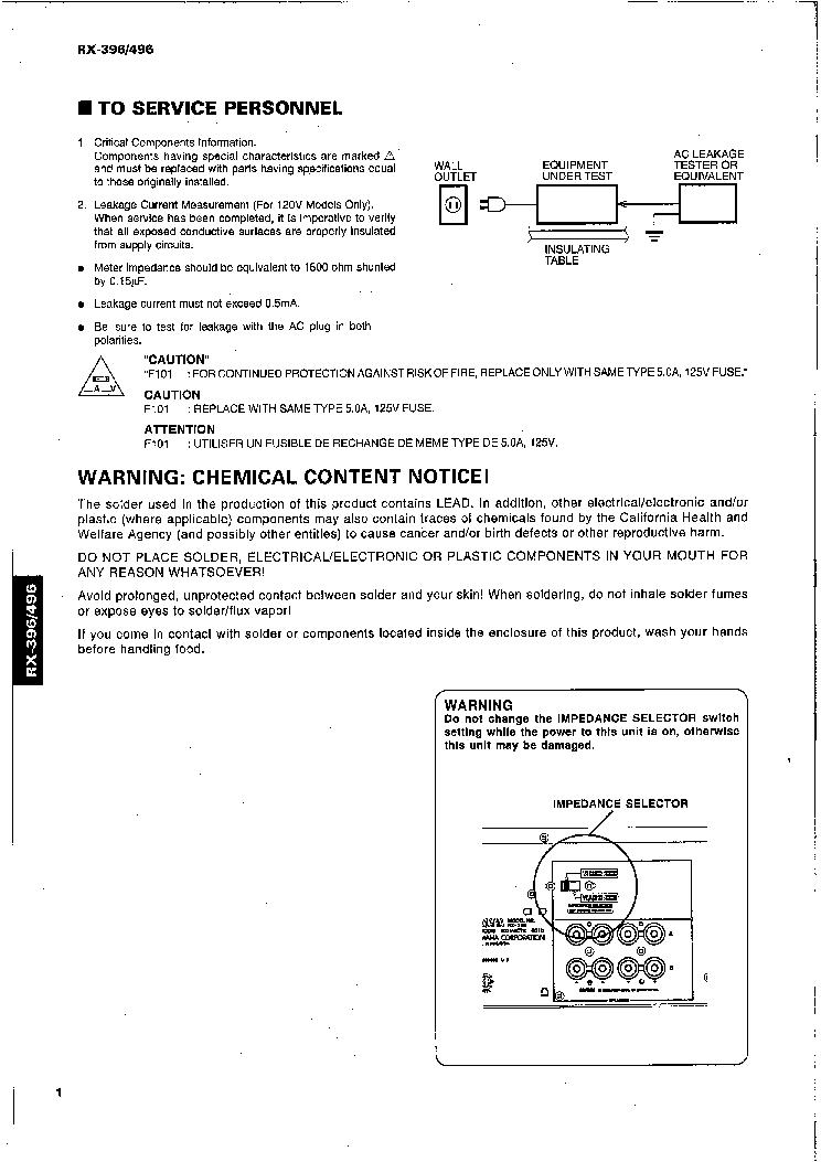 yamaha rx 530 service manual