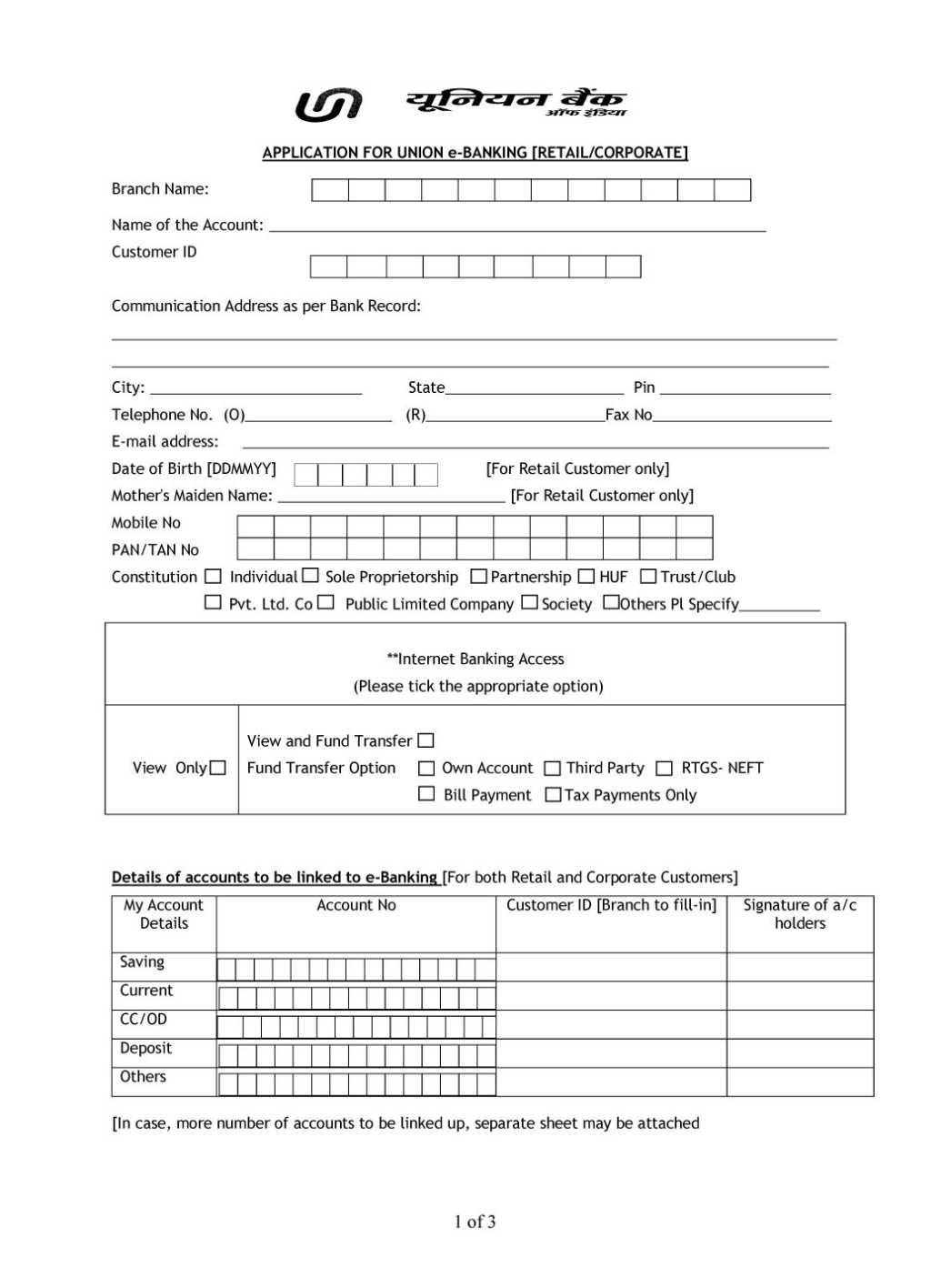 Sbi internet banking application form pdf