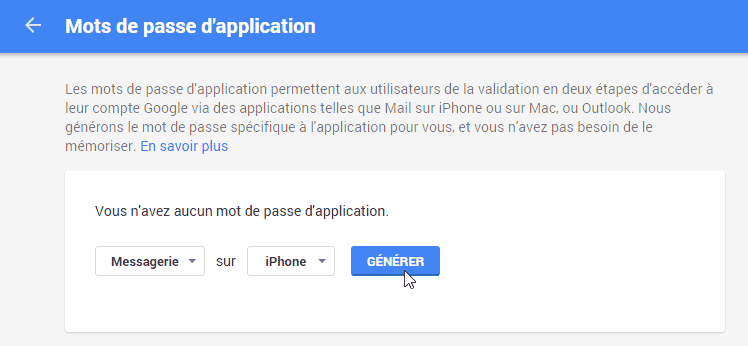 Mot de passe application gmail