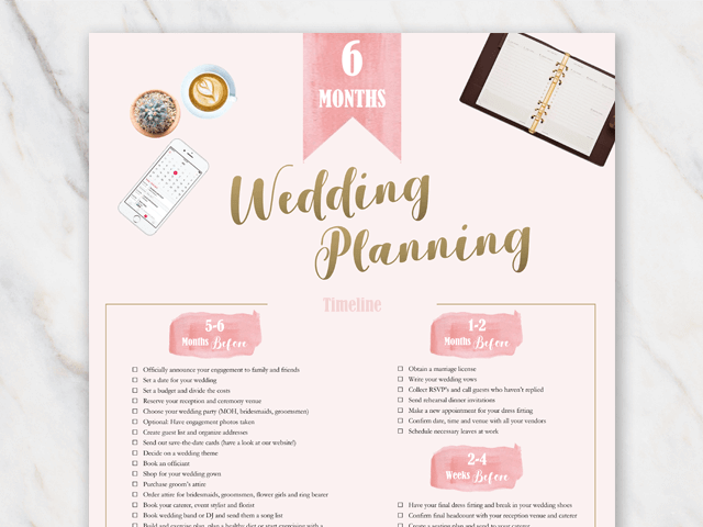 6 month wedding checklist pdf