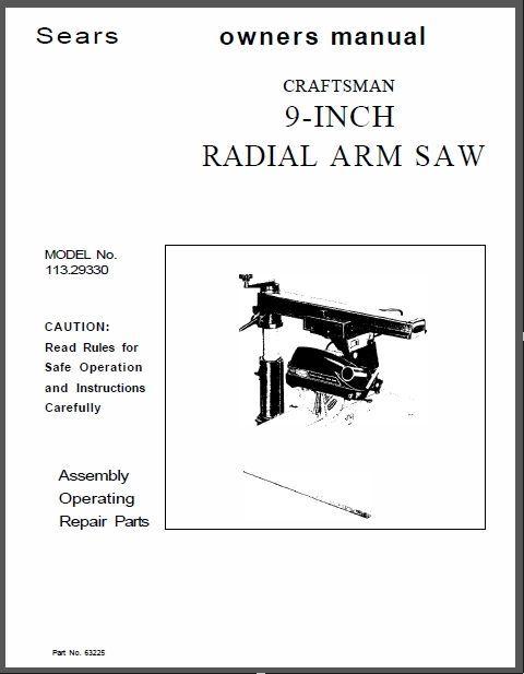 craftsman electronic radial arm saw manual