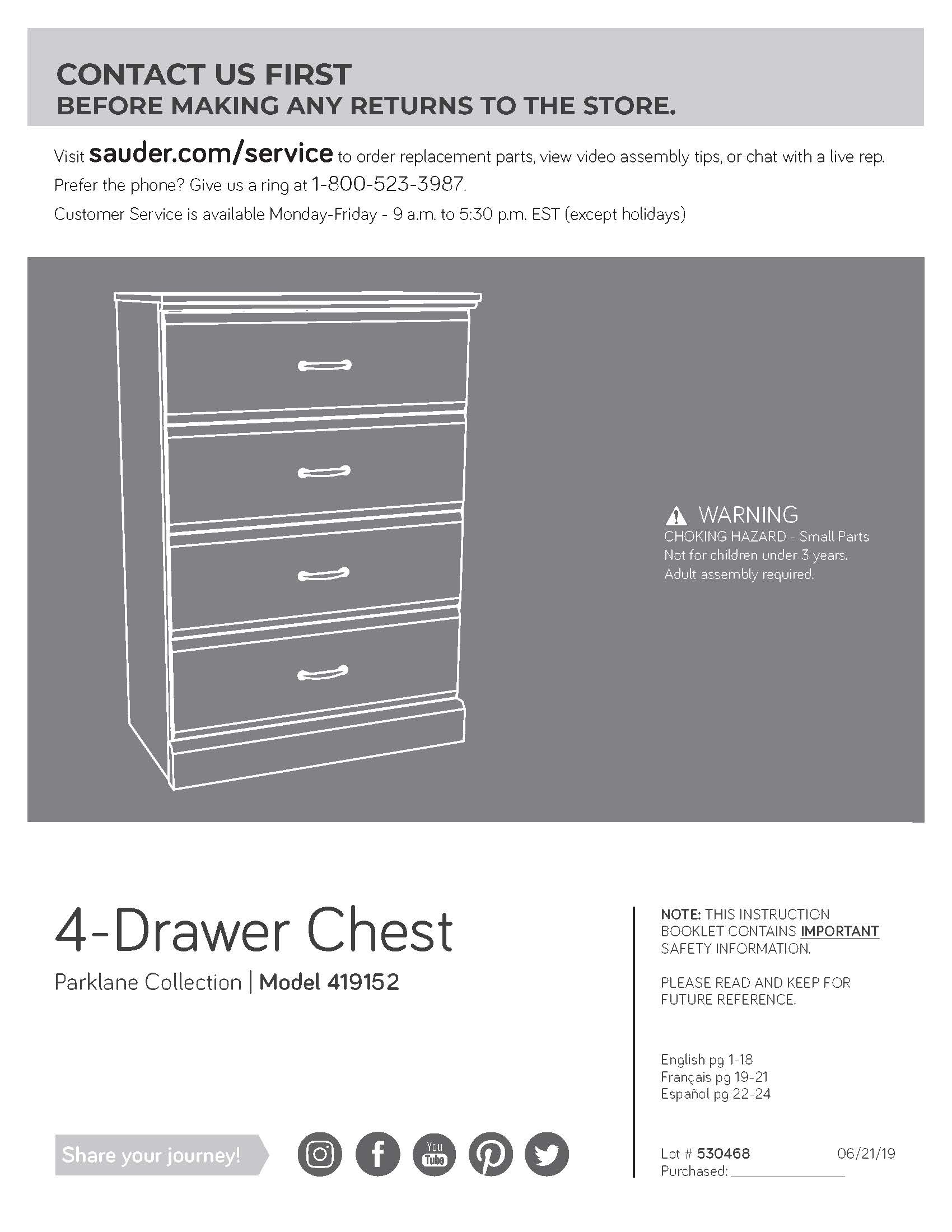 sauder 4 drawer chest 419152 instructions