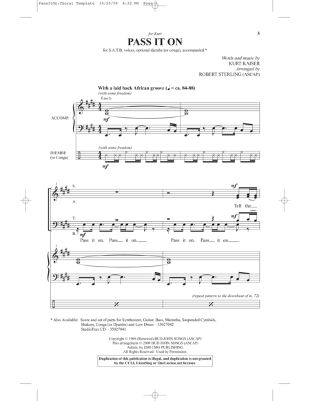Pass it on sheet music pdf