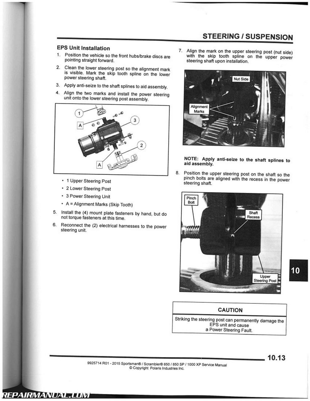 Polaris sportsman 850 service manual