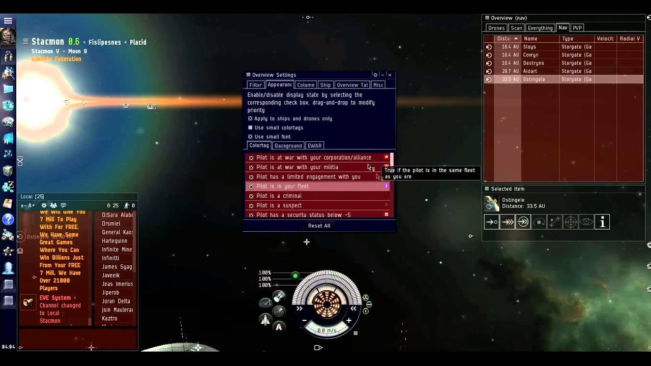 Eve online how to make station not appear on overview