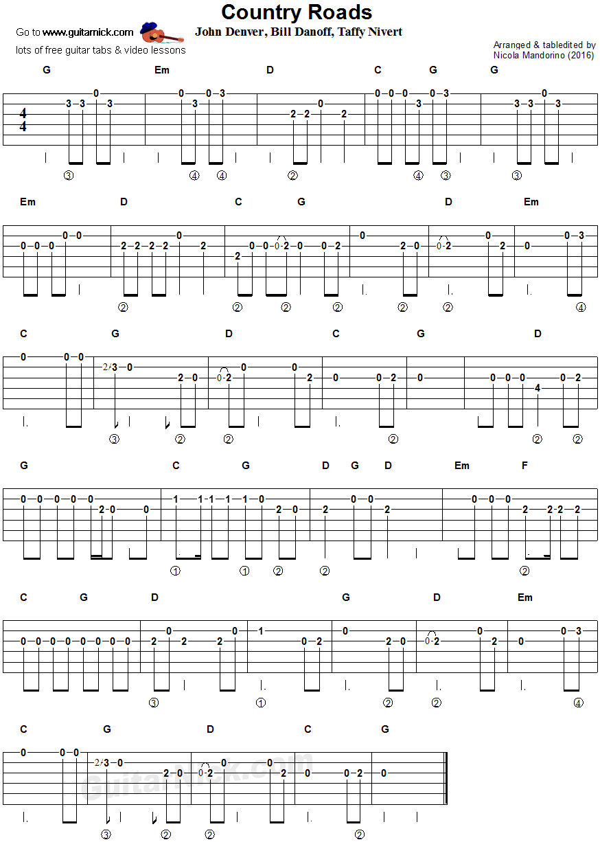 Take me home country roads chords pdf
