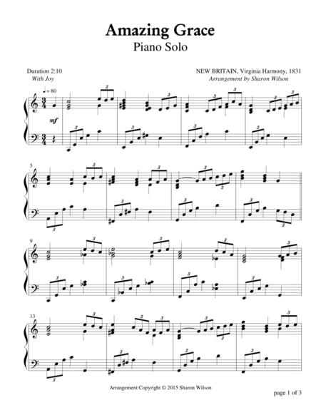 Amazing grace piano arrangement pdf