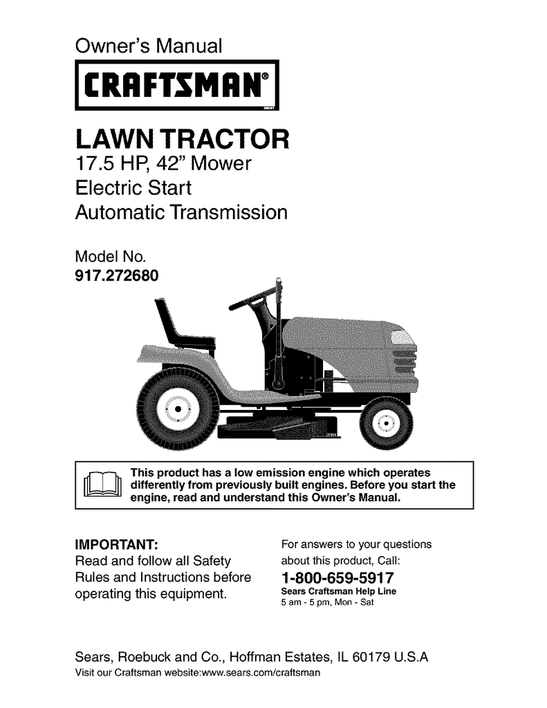 craftsman lawn mower lt1000 owners manual