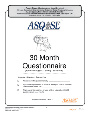 Ages and stages questionarre pdf