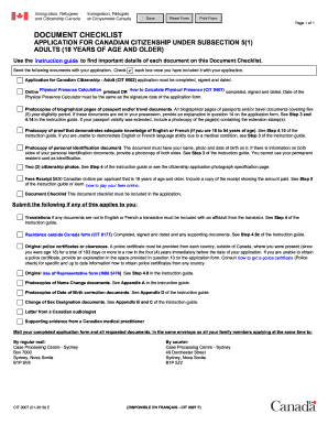 Canadian citizenship document checklist adults