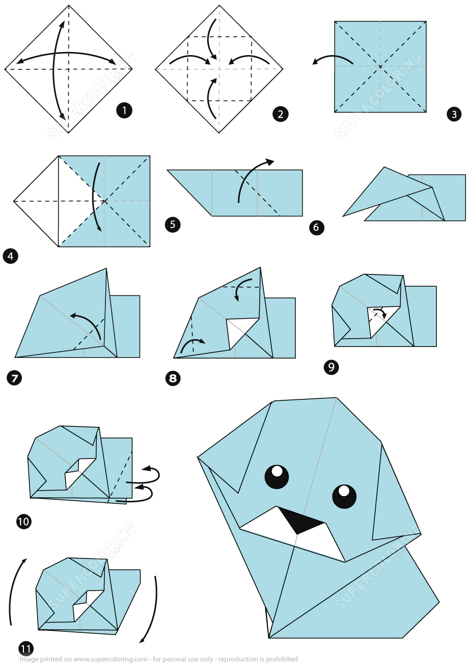 origami dog face printable instructions